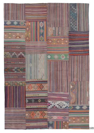 Multicolor Kilim Patchwork Rug - 6'8'' x 9'10'' (80 in. x 118 in.)