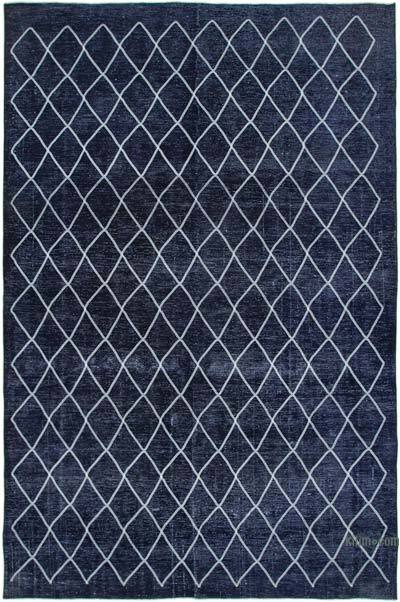 Embroidered Over-dyed Turkish Vintage Rug - 9'7'' x 14'7'' (115 in. x 175 in.)