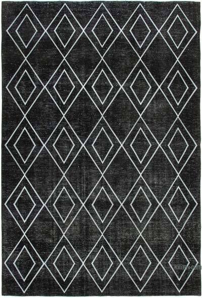 "Embroidered Over-dyed Turkish Vintage Rug - 9'4"" x 13'5"" (112 in. x 161 in.)"