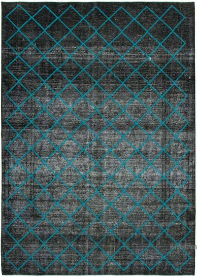 Black Embroidered Over-dyed Turkish Vintage Rug - 9'9'' x 13'7'' (117 in. x 163 in.)