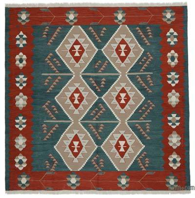 "New Handwoven Turkish Kilim Rug - 8'4"" x 8'4"" (100 in. x 100 in.)"