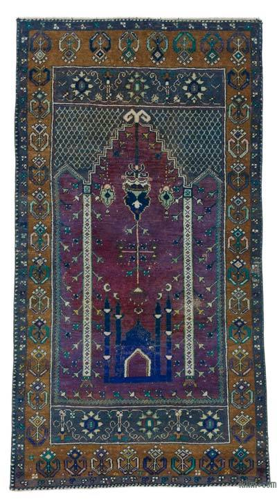 "Turkish Vintage Area Rug - 2'10"" x 5'7"" (34 in. x 67 in.)"