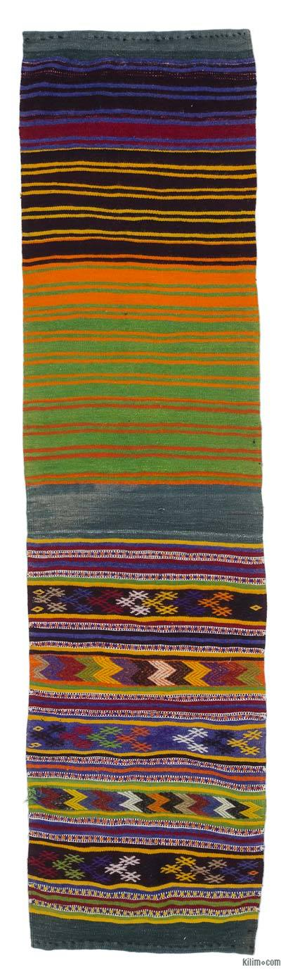 "Vintage Turkish Kilim Runner - 2'4"" x 8'8"" (28 in. x 104 in.)"