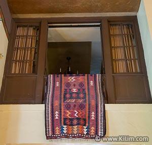 Kilim hanged on wall