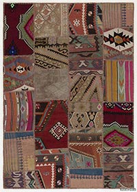 Over-dyed Turkish kilim patchwork rug