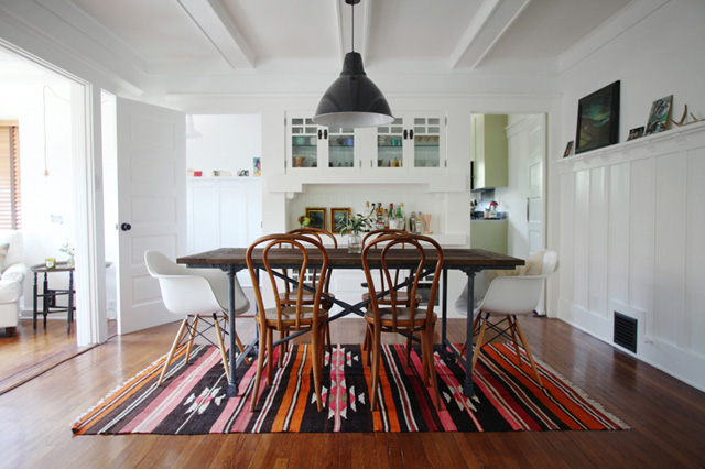 Designing with new and vintage rugs - Rug dining room and interior ...