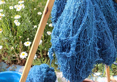 Drying indigo dyed wool