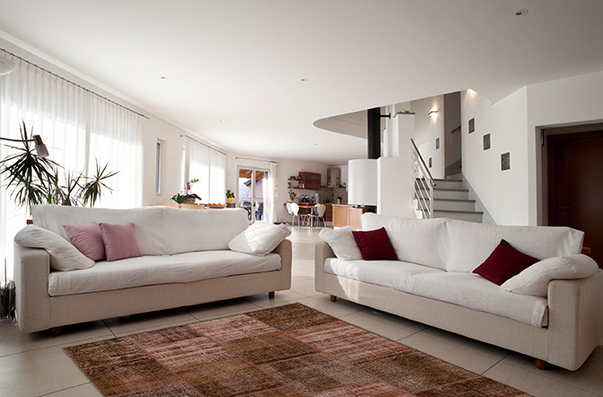 home design with rugs contemporary feel