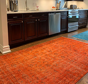 Orange Over-dyed Turkish Vintage Rug