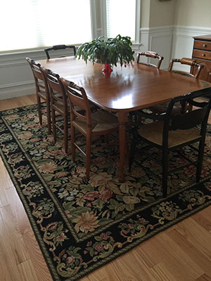 Handmade Needlepoint Rug in Dining Room