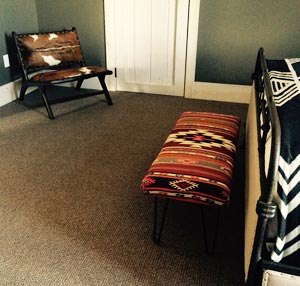 Kilim bench in bedroom
