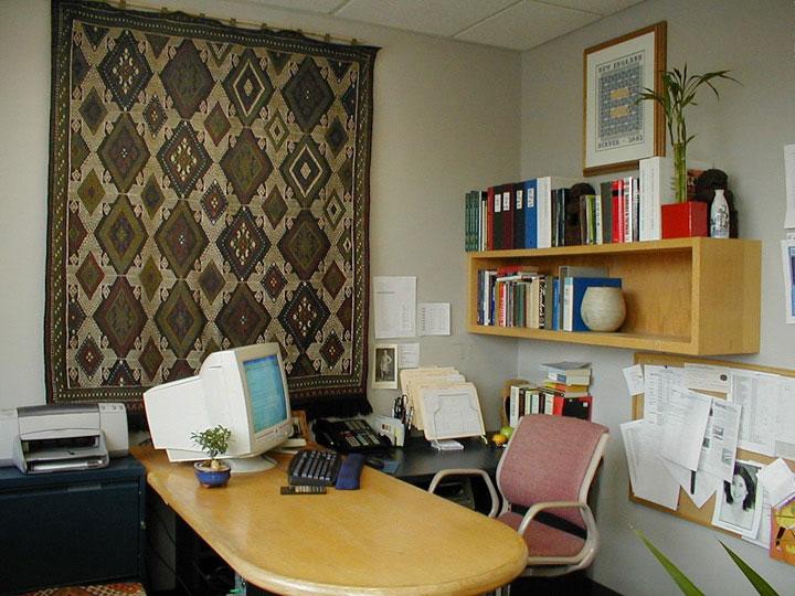 Kilim rug hanged on wall in_office