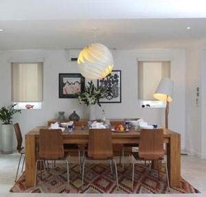 Kilim rug in dining room