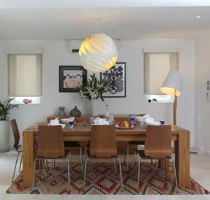 Kilim rug in dining room