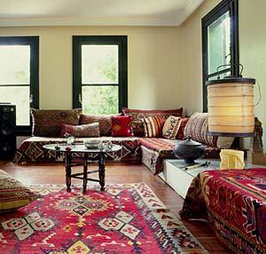 Kilim rug ottoman style decor