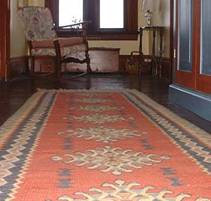 Kilim runner rug in the hallway