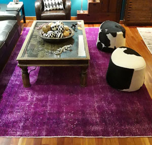 Over-dyed Turkish Vintage Rug in Living Room