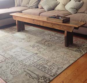 Overdyed patchwork rug in living room