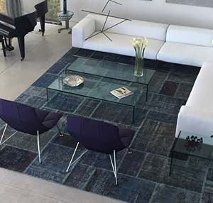 Overdyed patchwork rug in room