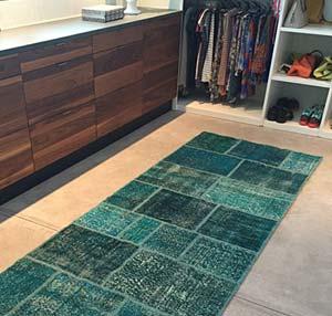 Overdyed patchwork runner in dressing room