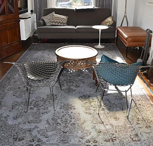 Overdyed vintage rug in living room