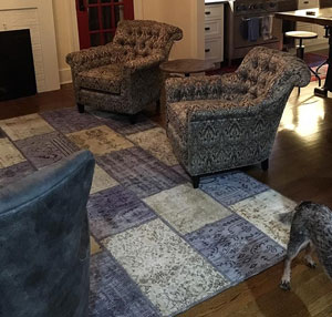 Overdyed patchwork rug in livingroom