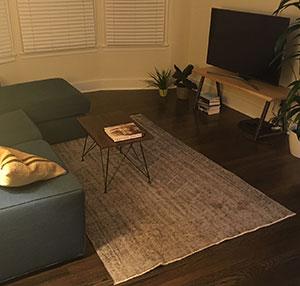 Over-dyed Turkish Vintage Rug in Living Room
