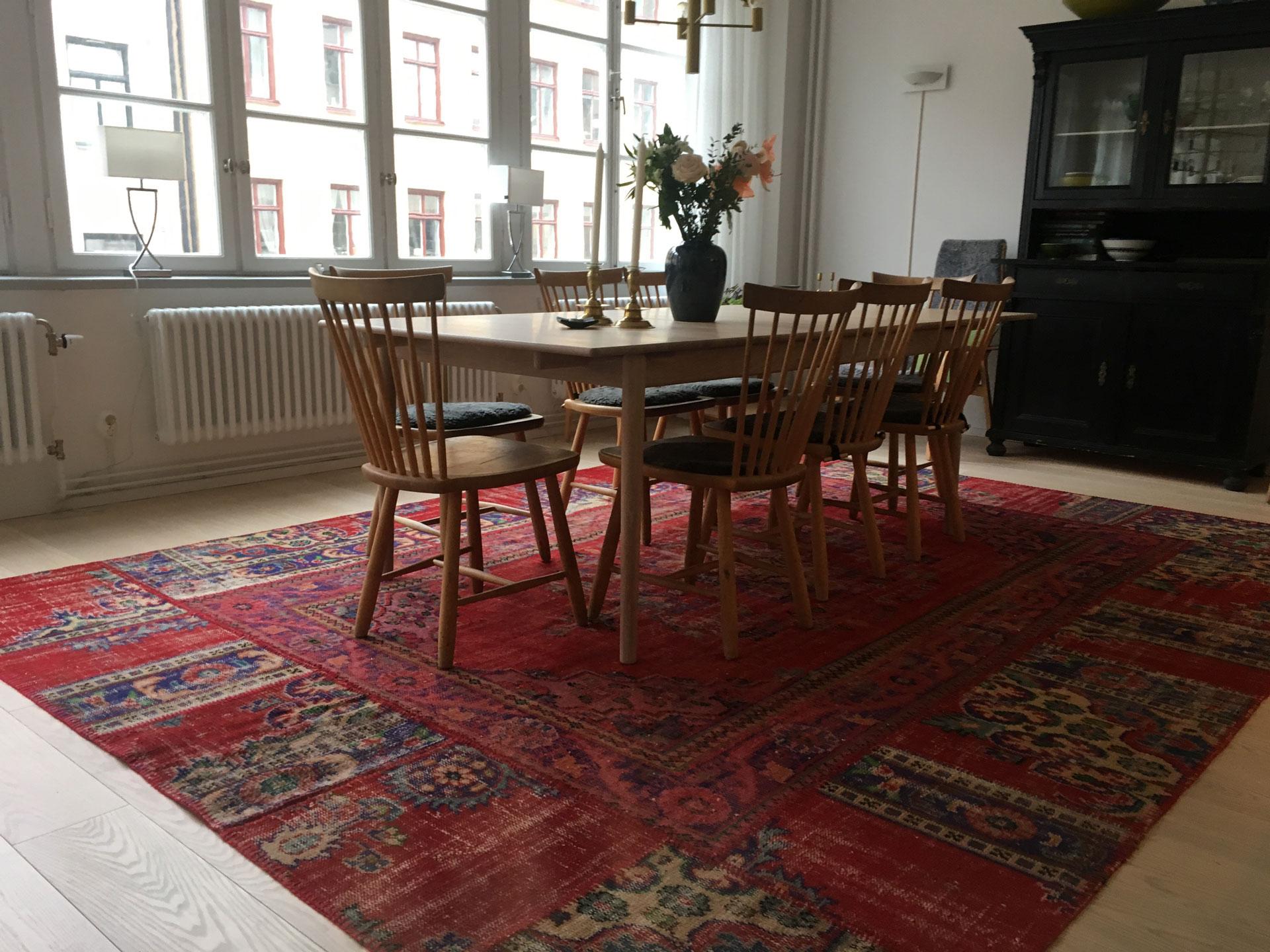 Turkish Patchwork Rug Under Table Stockholm Sweden