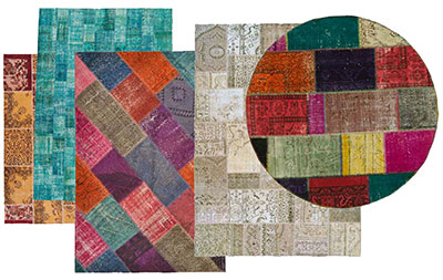 overdyed patchwork rugs collection