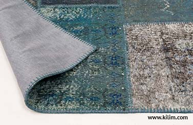 overdyed patchwork rug backing