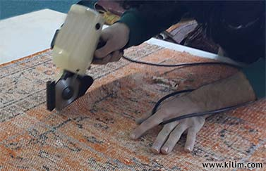 patchwork rug cutting process