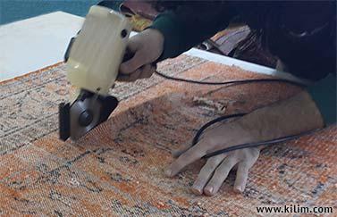 patchwork rug cutting process