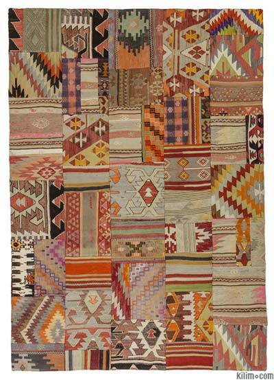 Turkish kilim patchwork rug