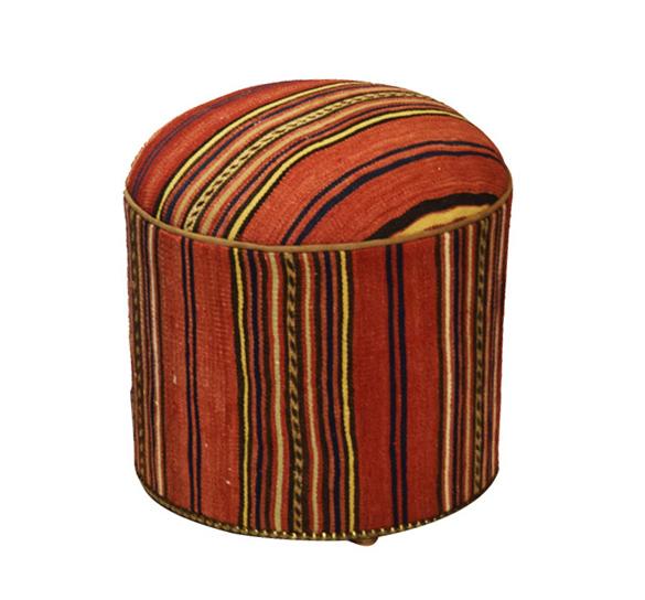 Kilim covered ottoman pouf